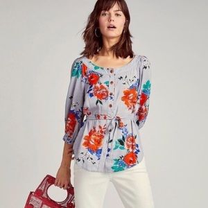 Maeve by Anthropologie Lilorne Floral Striped Top